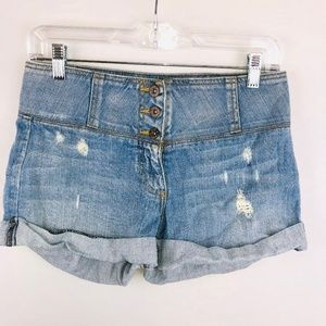 Carmar Light Wash Whiskered Cuffed Shorts 27